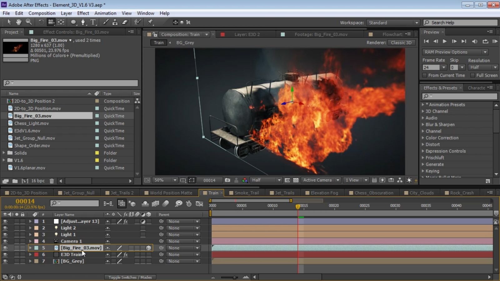 You Will See That The Element Layer And Ae Layer Exist In Seperate 3d  Spaces Layered On Top Of Each Other